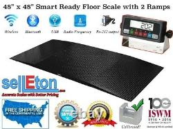 48 x 48 (4x4) Smart Ready Floor scale with 2 Ramps / Pallet size 5,000 x 1 lb