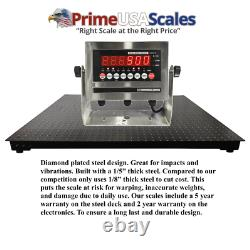 4x4 Floor scale Pallet 1,500 lb 5 Year Warranty Stainless Steel Indicator 48x48