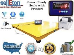 60 x 60 Floor Scale / Pallet size with indicator & printer 5,000 lbs x 1 lb
