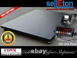 Floor Scale / Pallet size 60 x 60 with indicator & printer. 2500 lbs x. 5 lb