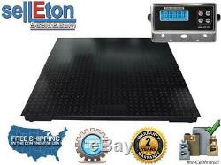 Floor Scale with 2 Bumper Guards Pallet Size 10000 lbs x 1 lb 48 x 48(4' x 4')
