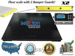 Floor Scale with 2 Bumper Guards Pallet Size 10000 lbs x 2 lb 60 x 60(5' x 5')