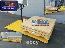 Floor Scale with Printer & Indicator 2500 lbs x 0.5 lb STG Pallet Size 60 x 60