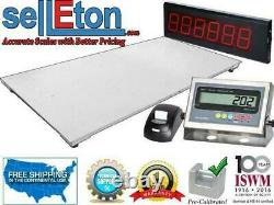 Floor Scale with Printer & Scoreboard 1000 lbs x 0.2 lb Pallet Size 60 x 84
