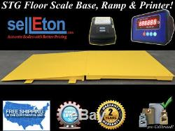 Industrial 60 x 60 floor scale with ramp 2500 lbs x. 5 lb + printer / pallet