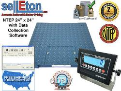 LED NTEP Legal 24 x 24 Floor scale pallet 10,000 x 2 lb with Data Software