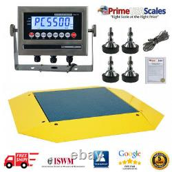 OP-960 Pancake Floor Scale 4' x 4' Pallet Scale 1,000 lb Ramps 360 Degrees