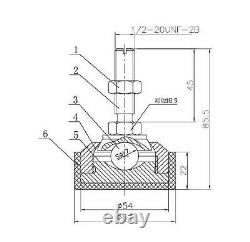 Package of 4 FOOT/LEG FOR LOAD CELL FOOTING Floor/Pallet/Hopper Scale, 1/2-20